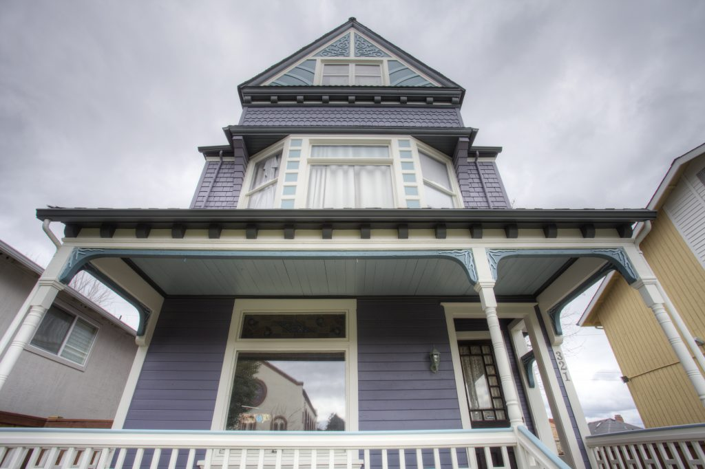 Front porch, painted lady, Victorian exterior trim, Sherwin Williams, Victorian porch railing