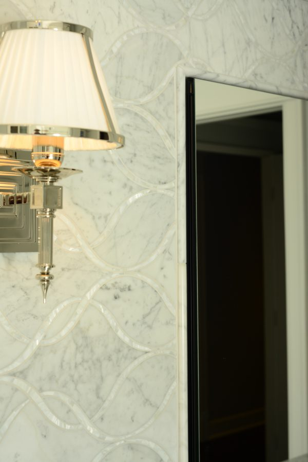 Trifold Medicine Cabinet Roburn, Statements Honed Bianco Carrara Marble